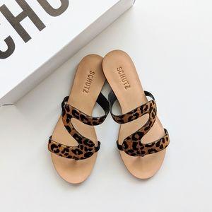 SCHUTZ Erzeli Calf Hair Leather Leopard Sandal
